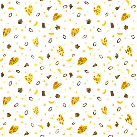 Sweet hearts, chocolate chip, bananas, jelly beans and candy hand drawn seamless pattern. Watercolor creative wallpaper, wrapping paper, textile design, scrapbooking, digital paper. 스톡 콘텐츠