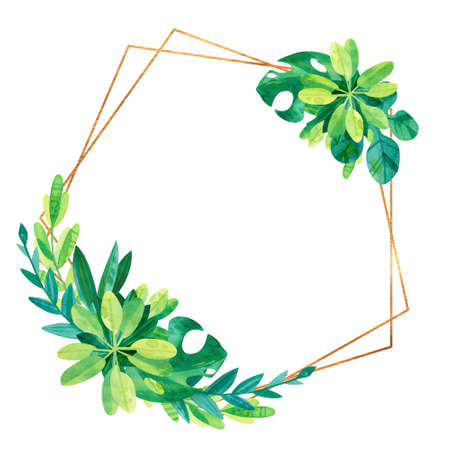 Empty golden geometric frame with tropical leaves. Wedding invitation. Jungle composition hand drawn illustration. Elegant green template on white background. Blank frame with exotic leaves composition isolated on white background.