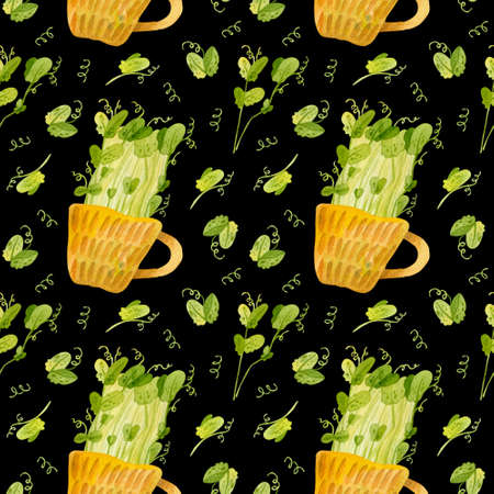 Cute ceramic cup with green pea seedlings. Bright spring crops. Fresh microgreens, cress salad. Garden season. Hand drawn watercolor seamless pattern. Wallpaper, wrapping paper design, textile, scrapbooking, digital paper.