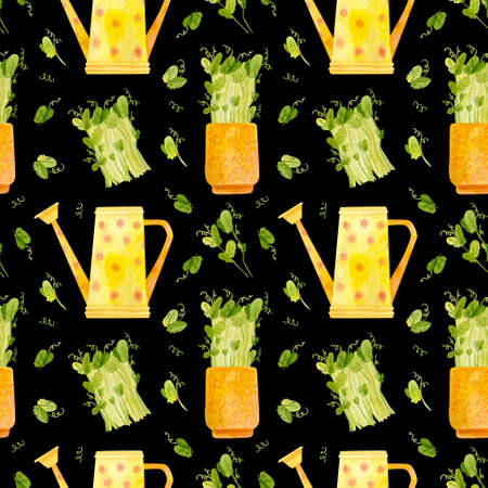 Spring garden seamless pattern. Yellow watering can and seedlings of pea. Cartoon greens watercolor illustration. Wallpaper, wrapping paper design, textile, scrapbooking, digital paper.