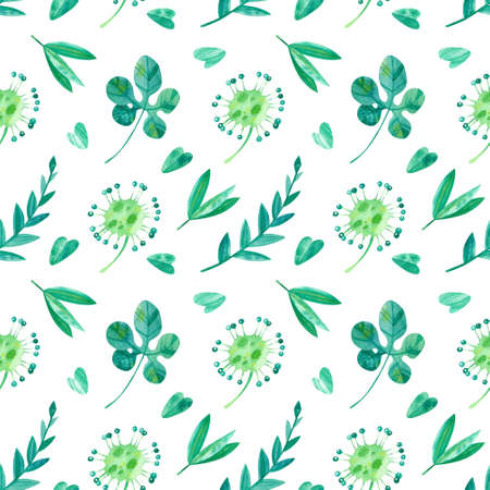 Summer season mood seamless pattern. Exotic jungle leaves, sundew, foliage, plants flora. Tropical exotic greens watercolor illustration. Wallpaper, wrapping paper design, textile, scrapbooking, digital paper. 스톡 콘텐츠