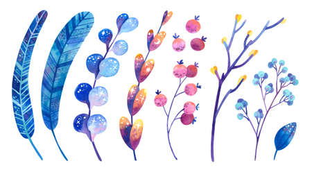 Blue and purple cosmic plants with symbols of stars and the moon. Feathers, flowers, leaves, berries. Watercolor illustrations set. Clipart collection for postcard, banner design element.