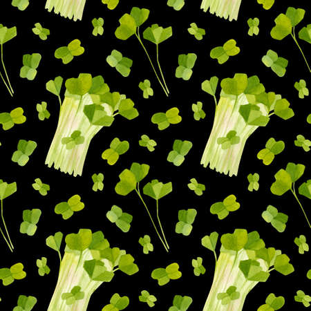 Spring garden leaves of radish seamless pattern. Cartoon greens watercolor illustration.