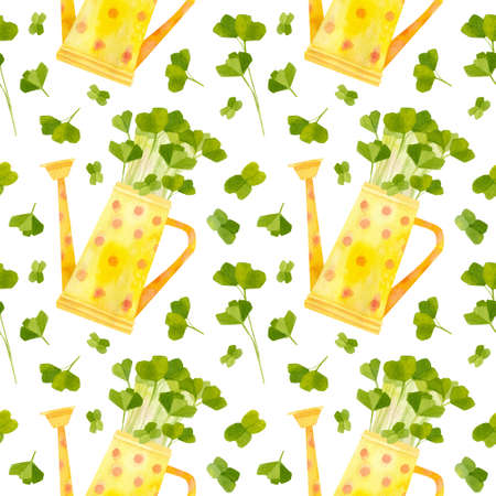 Yellow watering can with seedlings of radish. Bright spring crops. Fresh microgreens, cress salad. Garden season. Hand drawn watercolor seamless pattern. Wallpaper, wrapping paper design, textile, scrapbooking, digital paper. Stock fotó