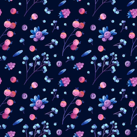 Seamless pattern with blue, violet, and pink stylized berries and leaves. Wallpaper, wrapping paper design, textile, scrapbooking, digital paper. Watercolor hand drawn illustrations on dark background.
