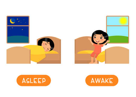 ASLEEP and AWAKE antonyms word card vector template. Flashcard for english language learning. Opposites concept. Little asian girl falls asleep, wakes up. Illustration with typography