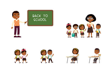 African schoolchildren and teachers. Cheerful classmates standing near blackboard. Children go to school, sit at schooldesk. Greeting on school chalkboard. The concept of back to school. Cartoon character, flat vector illustration set.  イラスト・ベクター素材