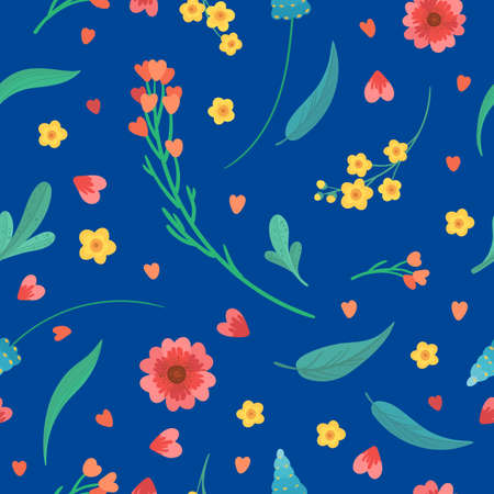Abstract wildflowers on bright blue background. Flowers blossoms and leaves flat vector retro seamless pattern. Floral decorative backdrop. Blooming meadow plants. Vintage textile, fabric, wallpaper design. Illusztráció