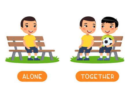 Antonyms concept, ALONE and TOGETHER. Educational word card with opposites. Flash card for English studying. Two little asian boys are sitting on bench, child is sitting alone. Flat vector illustration with typography 일러스트