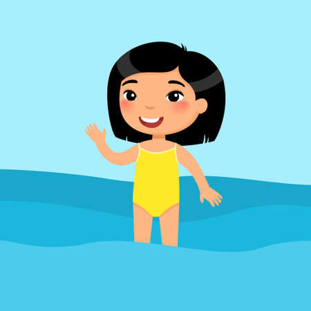 Little asian girl standing in a swimsuit flat vector illustration. Beautiful child having fun in water, waving hand. Cheerful kid in swimsuit enjoying summer activities color cartoon character