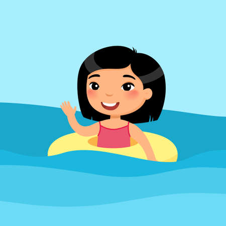 Girl swimming with inflatable ring flat vector illustration. Beautiful asian child having fun in water, waving hand. Cheerful kid in swimsuit enjoying summer activities color cartoon character