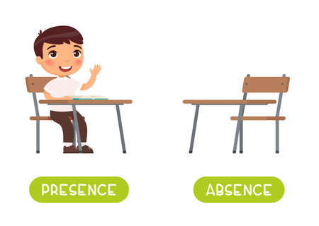 Absence and presence antonyms word card vector template. Flashcard for english language learning. Opposites concept. Little boy sits at a school desk, absences at school. Illustration with typography
