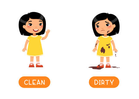 DIRTY and CLEAN antonyms word card vector template. Flashcard for english language learning. Opposites concept. Little clean asian girl waves his hand, dirty child is sad. Illustration with typography
