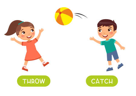 Antonyms concept, THROW and CATCH. Educational flash card with children playing ball template. Cute boy and girl have fun. Word card for english language learning with opposites. Flat vector illustration with typography 스톡 콘텐츠 - 152321497