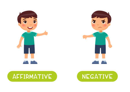 Affirmative and negative antonyms word card vector template. 일러스트