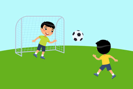 Two little asian boys play soccer. Children play outdoors. The concept of summer vacation, sports activity. Flat vector illustration. Isolated cartoon character on white background. Illusztráció