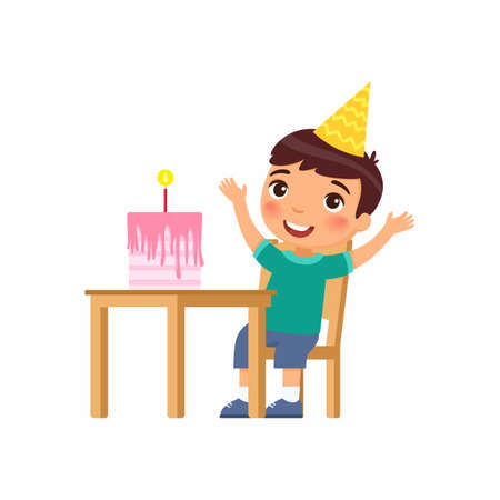 Little boy with birthday cake flat vector illustration. Child in party hat celebrating anniversary cartoon character. Anniversary celebration, festive pastry with candle on table isolated on white