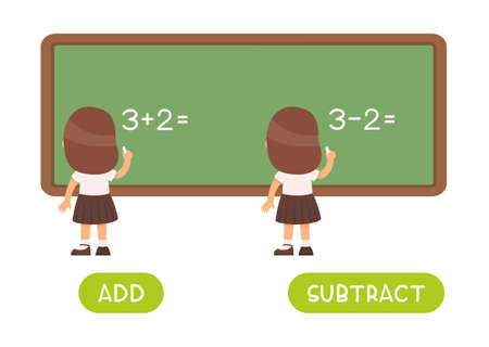 Add and subtract antonyms word card vector template. 일러스트