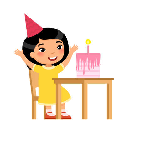 Little asian girl with birthday cake flat vector illustration. Child in party hat celebrating anniversary cartoon character. Anniversary celebration, festive pastry with candle on table isolated on white Illusztráció
