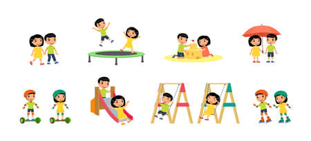 Little asian boy and girl plays in the playground. Concept of summer entertainment and friendship. Children play different summer games. Sport and recreation. Cartoon characters, flat vector illustration set.