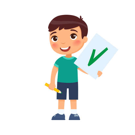 A joyful child holds a paper with a check mark - a symbol of approval. Illusztráció
