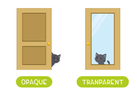 Opposites concept, OPAQUE and TRANSPARENT. Word card for language learning. Cute black cat sits behind a glass door and behind a wooden door. Flashcard with antonyms for children vector template. Flat illustration with typography. 일러스트