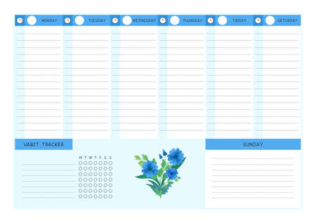 Week timetable and habit tracker blue wildflowers flat vector template. Calendar design with floral blooms and petals on white background. Personal tasks organizer blank page for planner Illusztráció