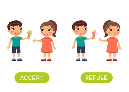 Accept and refuse antonyms word card vector template. 일러스트