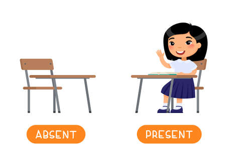 Absent and present antonyms word card vector template. Flashcard for english language learning. Opposites concept. Asian little girl sits at a school desk, absents at school. Illustration with typography 일러스트