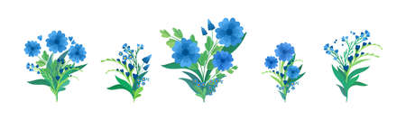 Flowers flat compositions vector illustrations set. Blooming meadow wildflowers, green leaves and hearts greeting, invitation card design elements pack. Blue bouquets isolated decorations 스톡 콘텐츠 - 152582596