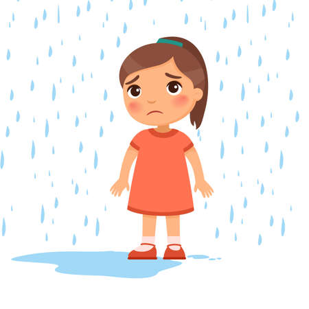 Unhappy girl under rain flat vector illustration. Sad preteen child in bad rainy weather. Caucasian kid with dark hair getting wet under downpour. Isolated cartoon character on white background 스톡 콘텐츠 - 152582597