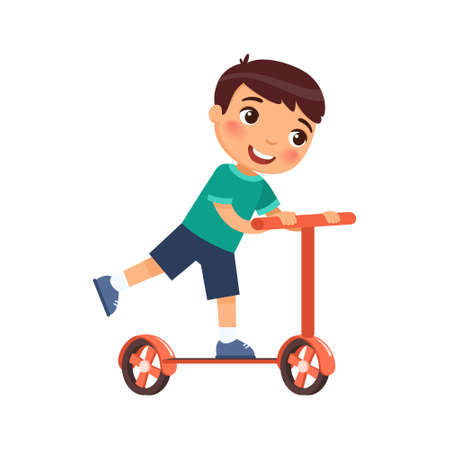 Little happy boy rides a scooter. Illustration