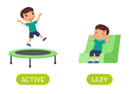 Active and lazy antonyms word card vector template.