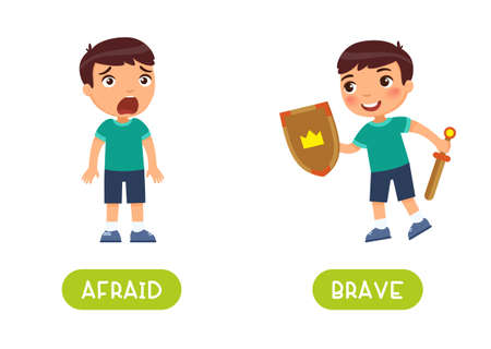 Afraid and brave antonyms word card vector template.