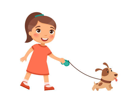Joyful little girl is walking on a leash of a cute puppy.