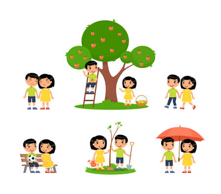 Little asian boy and girl is spending time in the countryside. The concept of summer fun and friendship. Village holiday, harvesting. Cartoon characters, set of flat vector illustrations