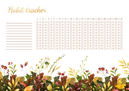 Habit tracker for month. Template with watercolor illustration. Autumn leaves themed blank, personal organizer with decorative frame. Yellow foliage, dog rose hips decorative elements. Maple, oak tree green, orange leaves with lettering. Border with stylized gold lettering