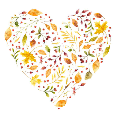 Autumn leaves heart shaped watercolor frame. Yellow foliage, dog rose hips decorative elements. Maple, oak tree green, orange leaves with lettering. Scattered botanical hand drawn illustrations