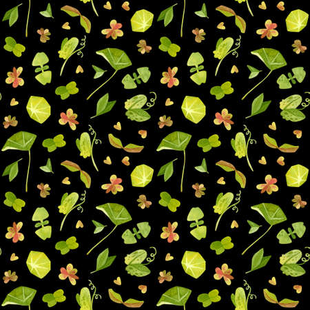Spring garden leaves of pea, oxalis, beet, nasturtium, radish, basil, coriander seamless pattern. Cartoon greens watercolor illustration. Wallpaper, wrapping paper design, textile, scrapbooking, digital paper. 스톡 콘텐츠 - 152733087