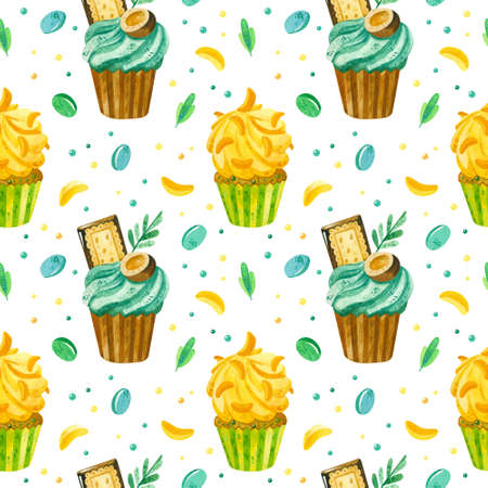 Cupcakes and marmalade hand drawn seamless pattern. Desserts texture. Creative wallpaper, wrapping paper, textile design, scrapbooking, digital paper. Stock fotó