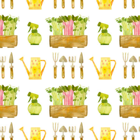 Garden tools and wooden box with seedlings. Fresh microgreens, cress salad. Spring season. Hand drawn watercolor seamless pattern. Wallpaper, wrapping paper design, textile, scrapbooking, digital paper. 스톡 콘텐츠 - 152733090