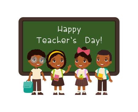 Happy teachers day greeting flat vector illustration. Dark skin school kids standing near blackboard in classroom cartoon character. Smiling pupils congratulate teachers. Educational holiday celebration