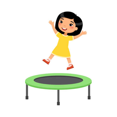 Little asian girl jumping on trampoline flat vector illustration. Happy sportive child having fun, playing. Preteen cheerful child enjoying game, childhood activity. Isolated cartoon character on white