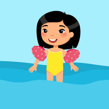 Little asian boy swimming with inflatable sleeves flat vector illustration. Beautiful child having fun in water. Cheerful kid in swimsuit enjoying summer activities color cartoon character