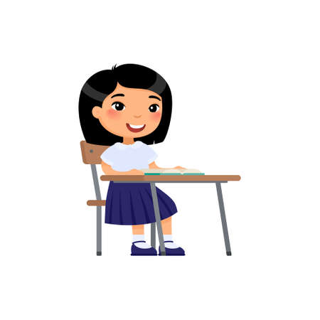 Asian school girl sit at school desk, cartoon characters. Elementary school education process. Happy pupil at lesson flat vector illustration. Illusztráció