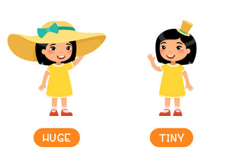 HUGE and TINY antonyms flashcard vector template. Opposites concept. Word card for english language learning with flat character. Girl wearing big and small straw hat illustration with typography