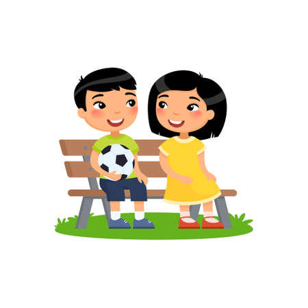 Cute asian boys with soccer ball and little asian girl sit on bench. Summer holidays, recreation, sports, hobbies and friendship. Vector flat illustration. Children cartoon characters isolated on white background.