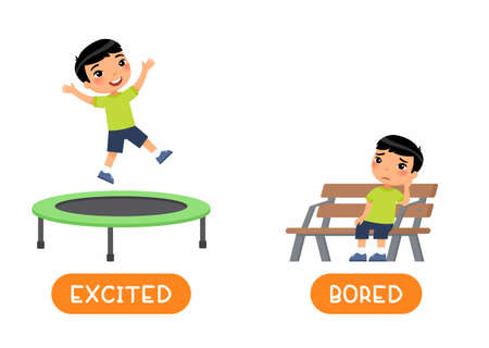 Opposites concept EXCITED and BORED. Antonyms word card vector template. Flashcard for english language learning with flat character. Asian boy jumping and sitting on bench illustration with typography
