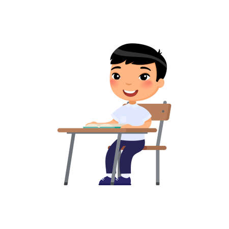 Asian school boy sit at school desk, cartoon characters. Elementary school education process. Happy pupil at lesson flat vector illustration. Illusztráció