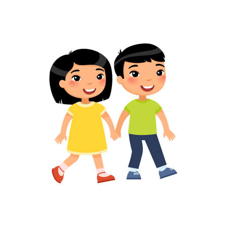 Young asian boy and girl in love flat vector illustration. Cute boyfriend and girlfriend holding hands cartoon characters. Cartoon characters isolated on white background. First love concept.